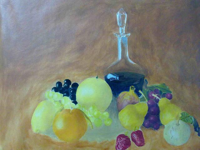 bodegon con frutas al temple y oleo