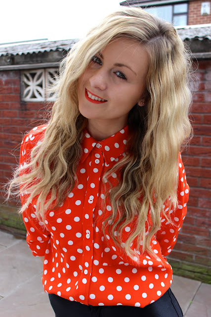 A picture of through Chelsea's eyes wearing topshop polka dot shirt