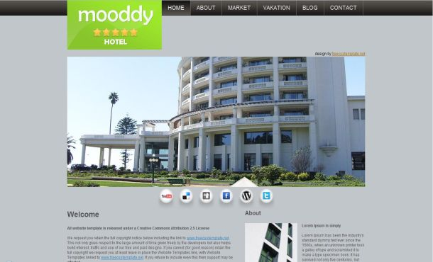 Free Hotels Black Grey CSS Website Template