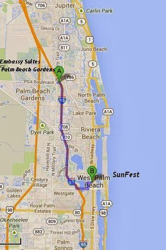 Embassy Suites Palm Beach Gardens is 11 miles / 15 minutes from SunFest