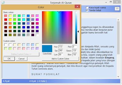 penggantian warna tulisan dan background aplikasi quran terjemah
