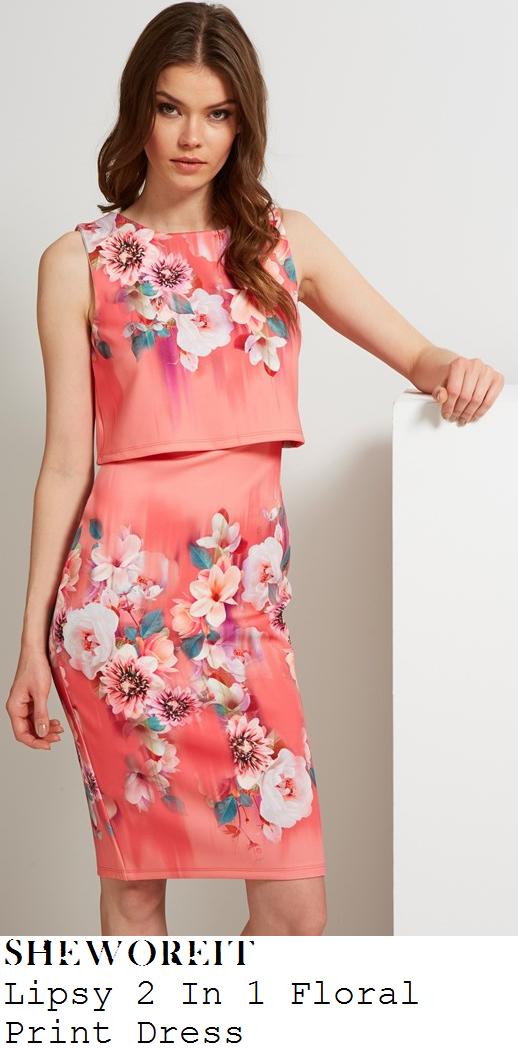 stephanie-pratt-coral-pink-floral-print-sleevelss-overlay-pencil-dress