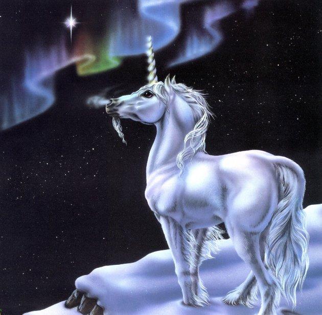 Unicornio mirando la aurora boreal - Imagenes y Carteles