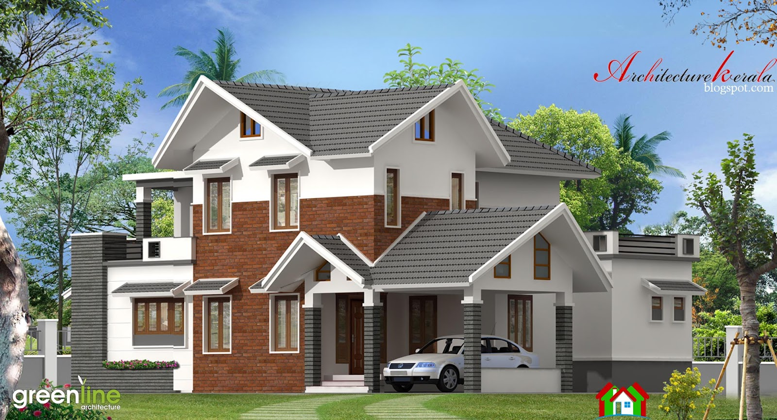 4 bhk modern style kerala house elevation architecture for Home designs kerala architects