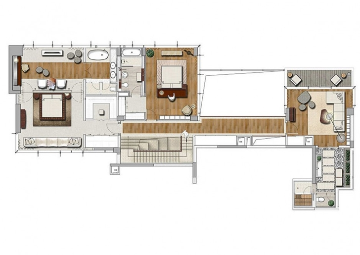 Upper floor plan of Modern apartment in Shenzhen by Kokai Studio