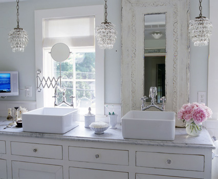 30 ways to rock a crystal chandelier the enchanted home a trio of petite chandeliersbeautiful decorpad aloadofball Gallery