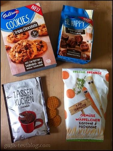 Bahlsen Triple Chocolate Cookies, Bahlsen Be Happy ,Tüpfelchen Tassenkuchen, erdbär Freche Freunde