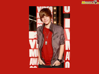 Red wallpapers of Justin Bieber