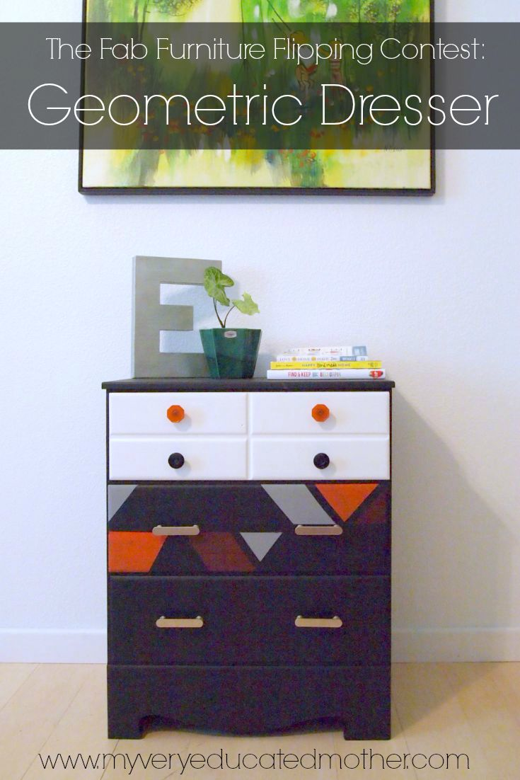 It's my first #FabFlippinContest piece! Makeover a drab dresser into a geometric piece of art!