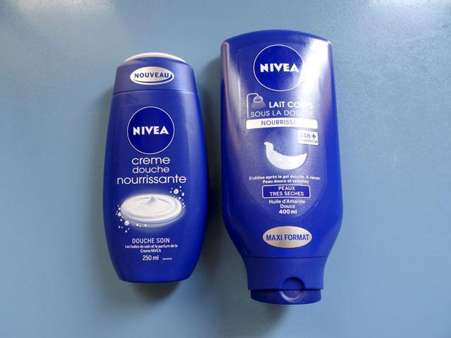 Lait corps sous la douche et cr me nourrissante de nivea - Veet creme depilatoire sous la douche ...