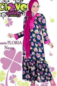 Clover Clothing Gamis Floria - Navy (Toko Jilbab dan Busana Muslimah Terbaru)