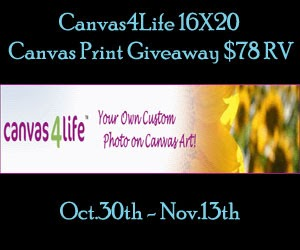 Enter the Canvas4Life 16x20 Canvas Print Giveaway. Ends 11/13.