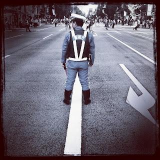 Japanese crossing guard in Akihabara