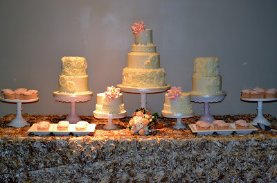 Sweet Cakes by Rebecca - buttercream wedding cake buffet with rosettes, pearls and roses