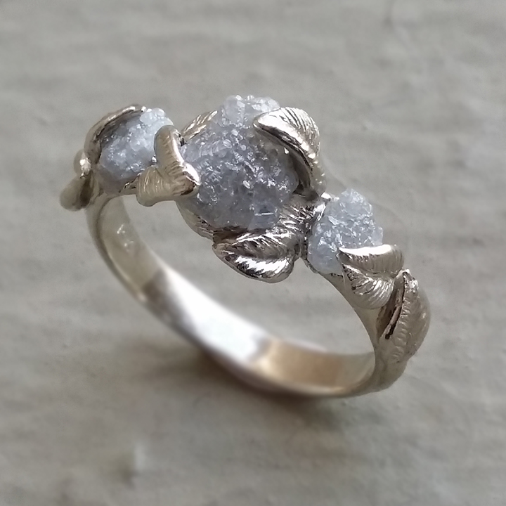 raw uncut rough diamond engagement ring raw 14k white gold wedding ring anniversary three stone rough diamond ring by dawn vertrees