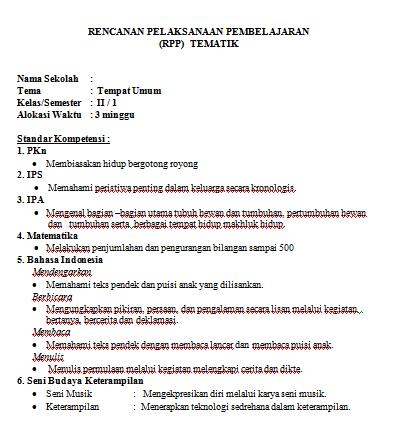 Rpp Tematik Kelas 2 Kurikulum Ktsp Informasi Pendidikan