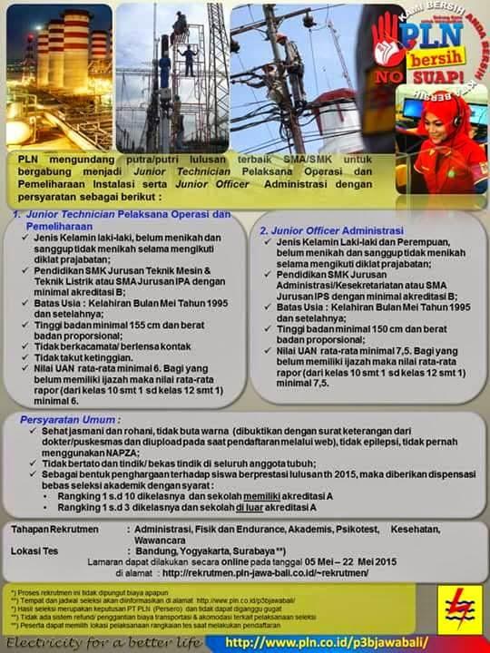 Lowongan kerja yogyakarta: Rekrutmen PLN Jawa Bali 2015