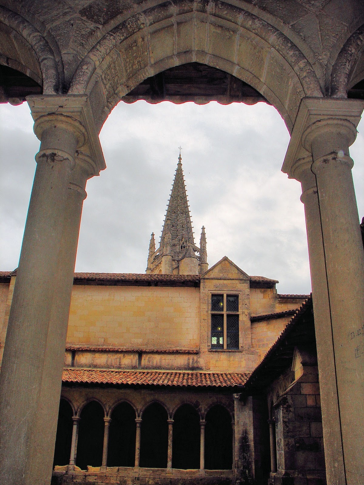 The Monolithic Church tower as seen from the Collegiate Cloisters.