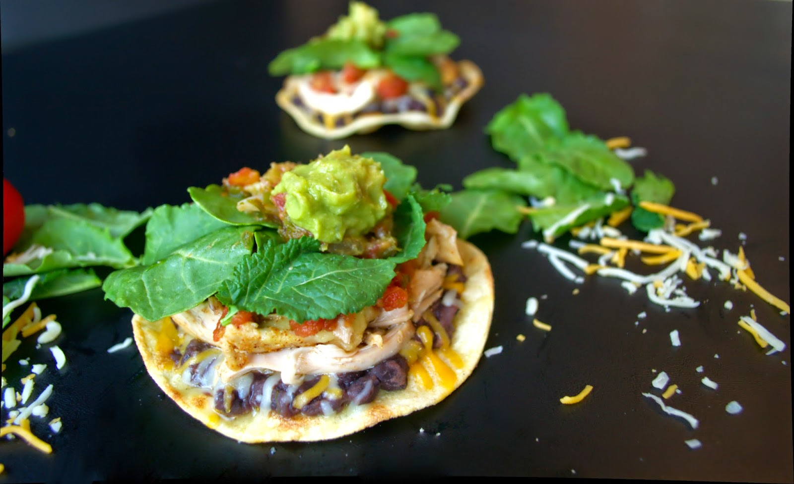 Chicken and Cheese Tostadas