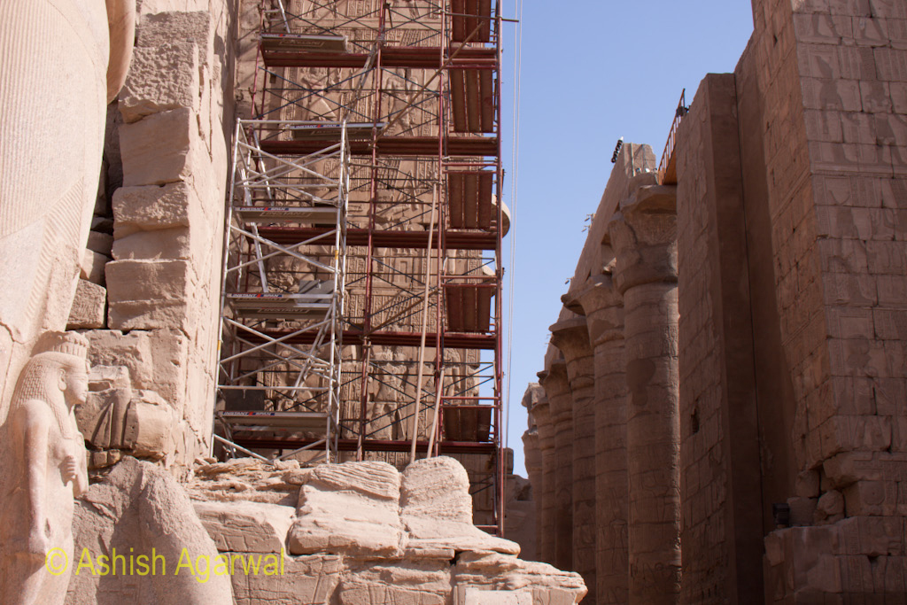 View of scaffolding for repair work at the Karnak temple in Luxor