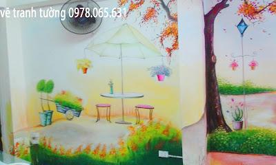 vẽ tranh tường quán cafe,vẽ tranh tường quán cafe teen
