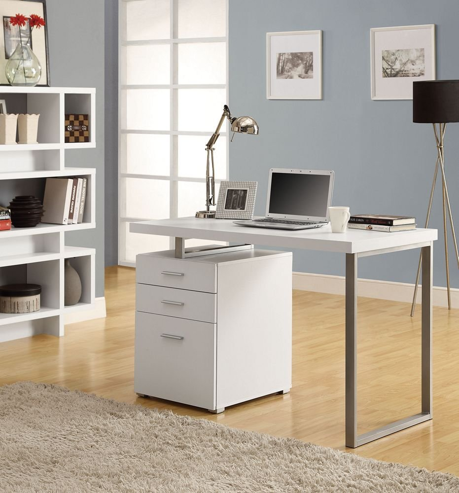 Modern White U0026 Black Computer Desks With File Cabinet Storage
