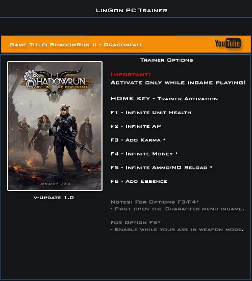 ShadowRun 2 Dragonfall v1.0 Trainer +6 [LinGon]