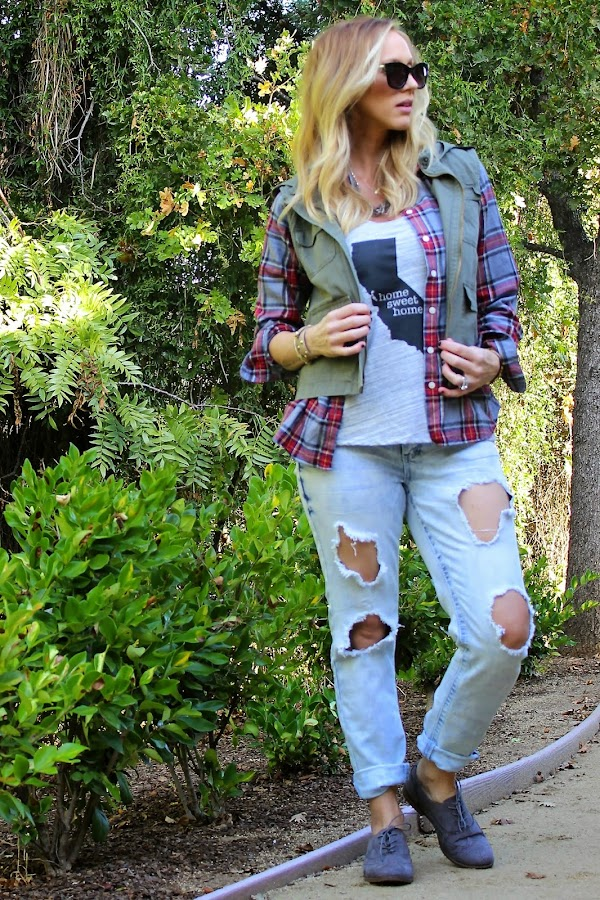 plaid shirt with military vest