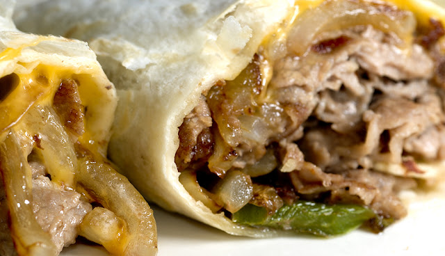 California Girl's Southern Fried Fusion: Philly Cheese Steak Burritos