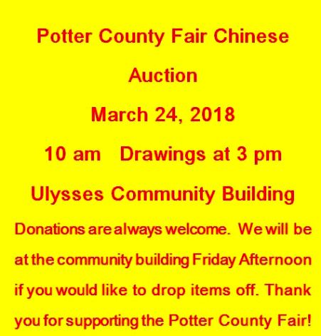 3-24 Potter County Fair Chinese Auction