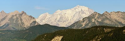 Panoramic photograph of Mont Blanc mountain through Aravis mountain range