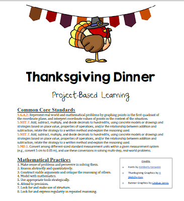 http://www.teacherspayteachers.com/Product/Project-Based-Learning-Plan-Thanksgiving-Dinner-Decimals-Geometry-Estimation-959926