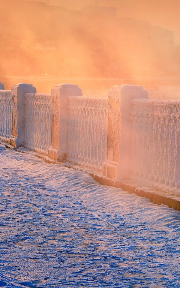 Snow Falling Sunrise Fence  Galaxy Note HD Wallpaper