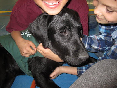 A blissful black lab puppy Romero is being hugged by two young boys in a school gymnasium. Romero is wearing his green future dog guide jacket. The boy behind Romero is wearing a maroon t-shirt and has his arms wrapped around Romero's neck. His face is cropped out of the picture but you can see his huge smile, completely with newly grown-in front teeth! The other boy is on the right side of the picture at Romero's head. He is wearing a blue plaid shirt and scratching under Romero's chin and chest. He is gazing down lovingly at Romero's face.