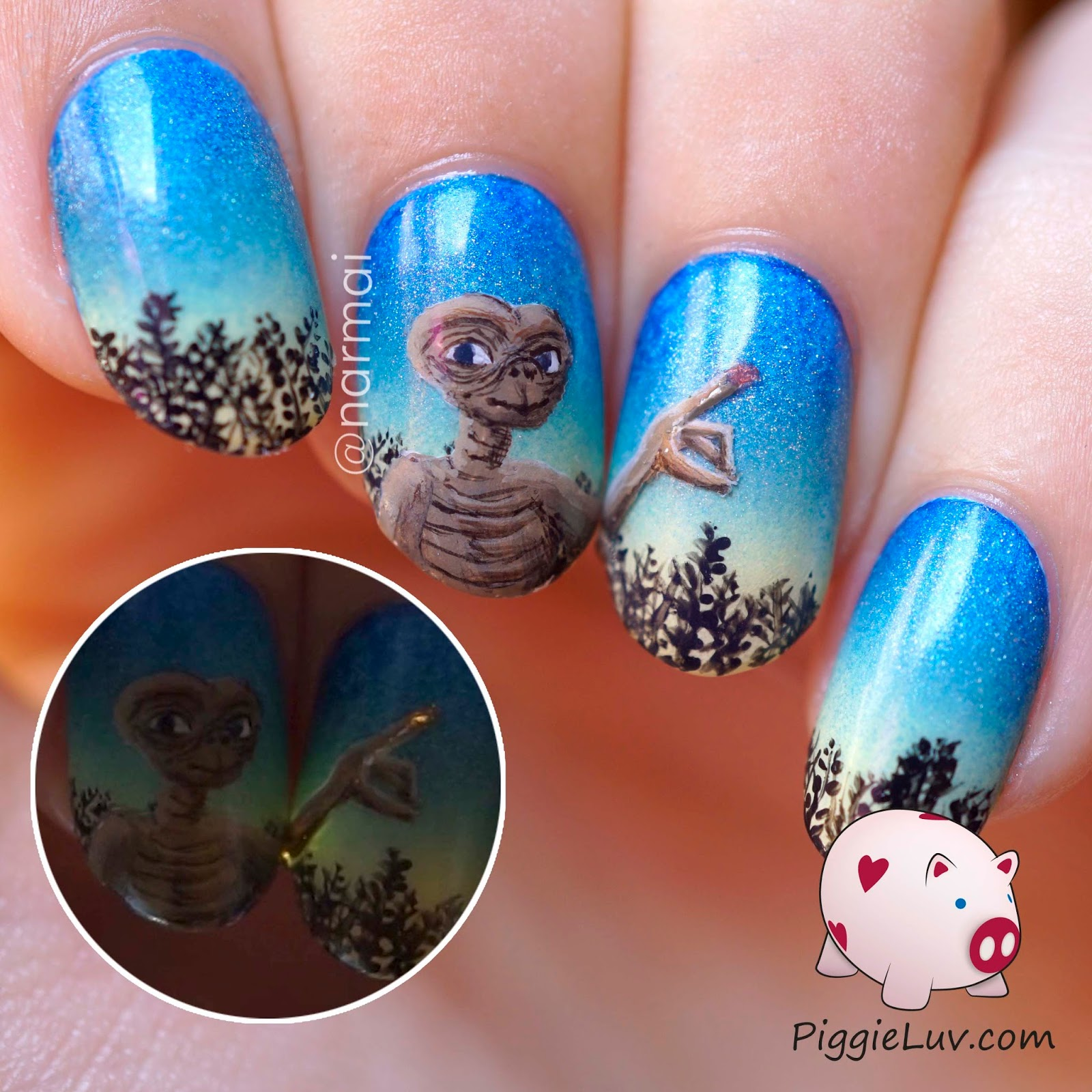 ET Phone Home Nail Art With Fiber Optics