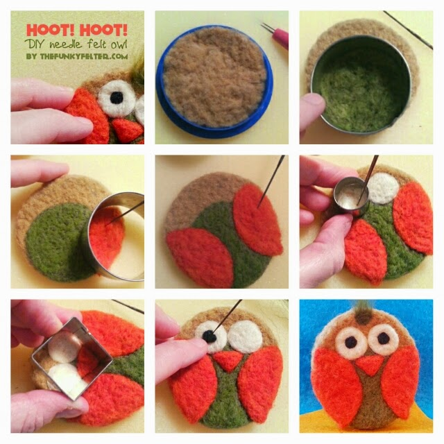 how to make a needle felted owl using wool roving and cookie cutters