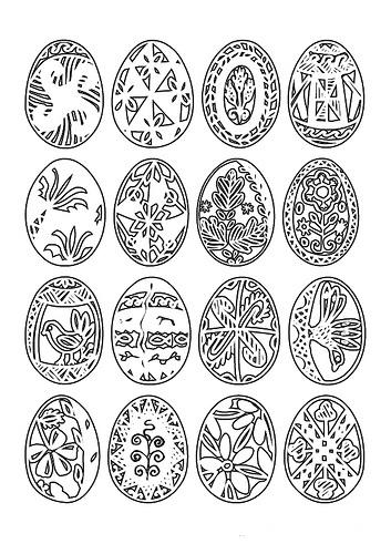 Dibujo de muchos huevos de pascua para colorear ~ Colorea el dibujos