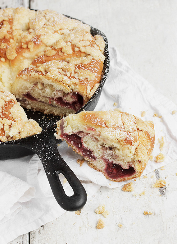 Strawberry Streusel Skillet Sweet Bread | Seasons and Suppers