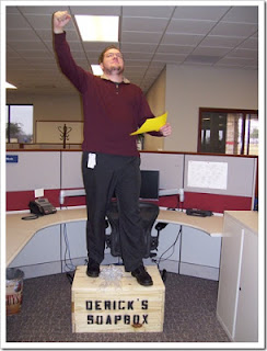 See more silliness on his blog, See more silliness on Derrick's blog: http://lostechies.com/derickbailey/2008/12/19/my-soap-box-no-really/