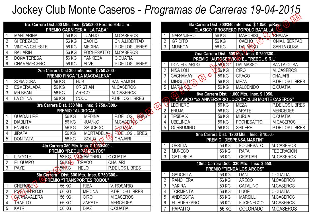 M. CASEROS - PROGRAMA