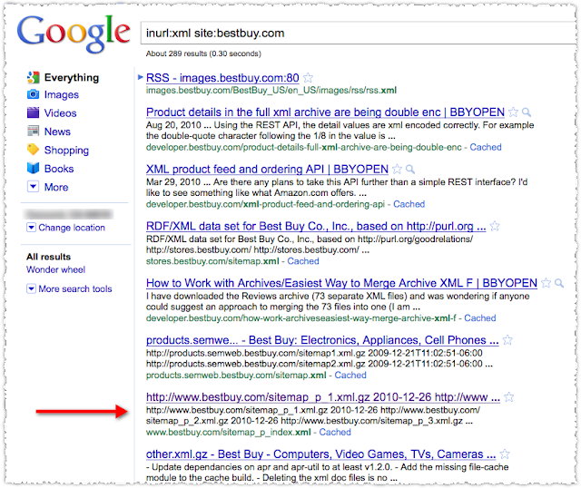 Googling For a Sitemap Index