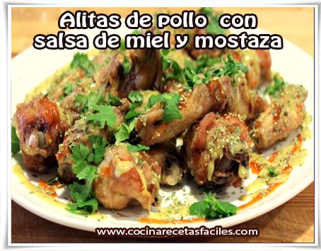 Recetas de pollo, alitas de pollo  con  salsa de miel y mostaza