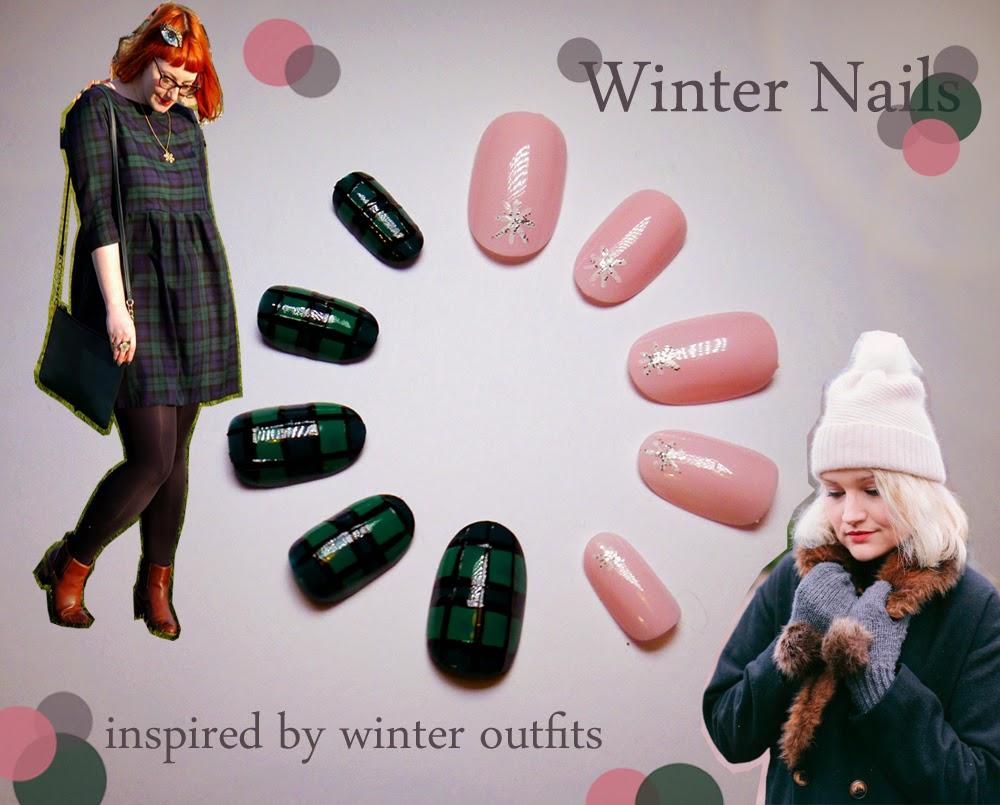 winter nails, winter outfits, tartan nails, pink nails