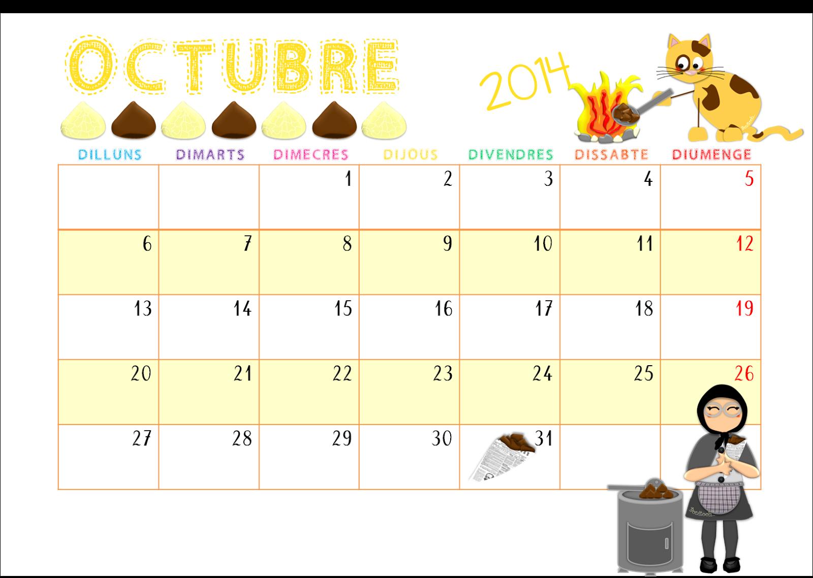 QUÉ HACEMOS HOY EN EL COLE?: CALENDARIO: OCTUBRE 2014