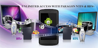 Paragon NTFS & HFS+ mounts almost any external hard drive on a phone or tablet