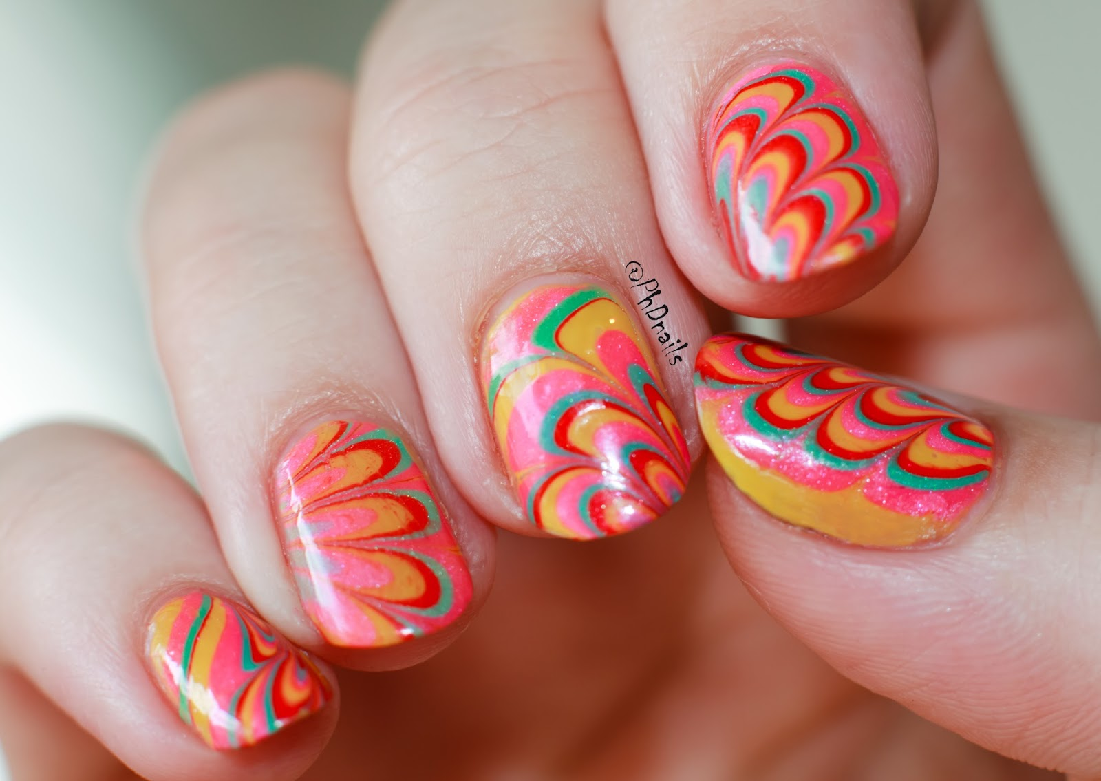 PhD nails: Water marble decals with neon Indie polish \