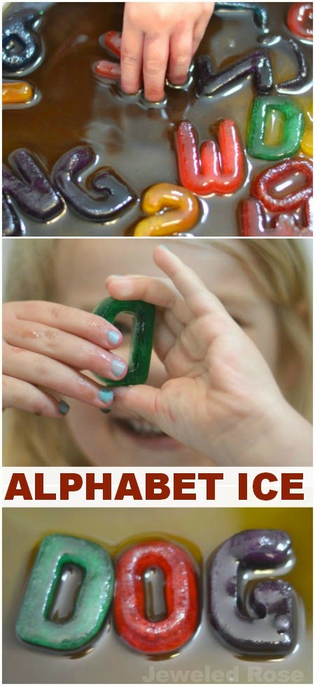 Kool-aid alphabet ice- a super fun way for kids to play & learn this Summer!