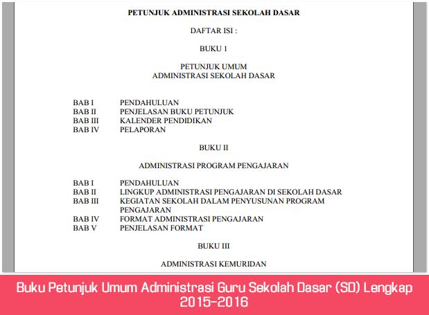 Buku Petunjuk Umum Administrasi Guru Sekolah Dasar (SD) Lengkap 2015-2016