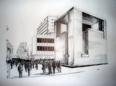 2 Point Perspective Building Drawing http://natahelper.blogspot.com/2012/07/perspective-drawing-examples.html