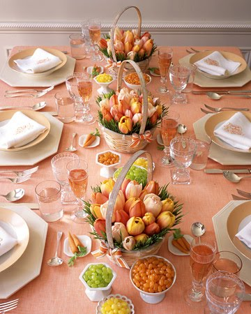 Martha Stewart Shows A Beautiful Easter Table Using Large Baskets Of Tulips  As